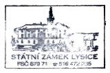 Turistická razítka - Zámek Lysice