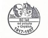 Turistická razítka - Chyše - 80 let od pobytu Karla Čapka
